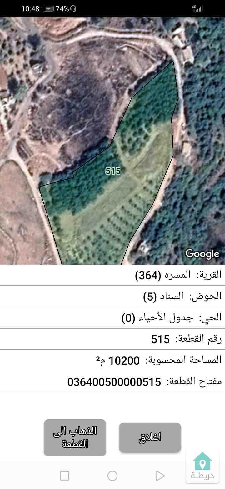 قطعة أرض ٥ دلمات مزروعه زيتون وتين من نبع ماء انسيابي مش بحاجت ماتور وقناه