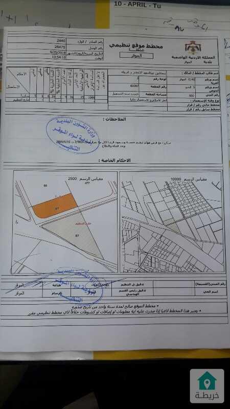 أرض للبيع في الموقر على أتوستراد عمان الأزرق مباشره