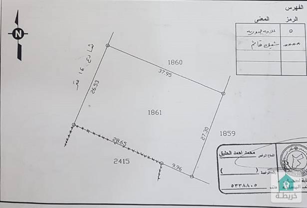 قطعة ارض في شفا بدران سكن ب للبيع المساحة 1030م سكن ب