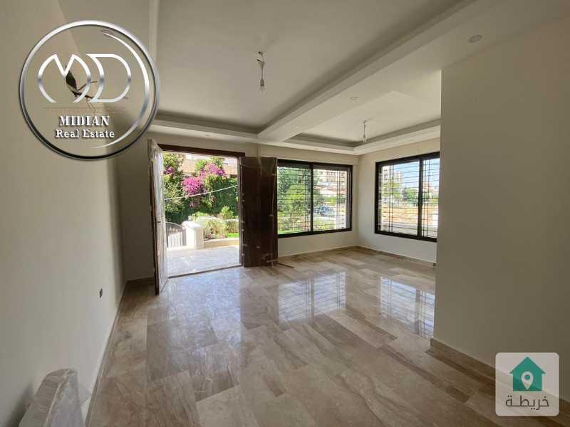 شقة ارضية جديدة - للبيع الامير راشد مساحة 210م تشطيبات فاخرة مع حديقه 200م .