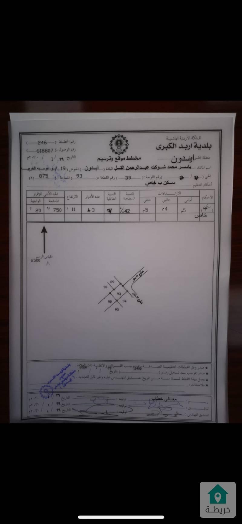 """ارض للبيع شارع ابو راشد """" وصفي التل """"  خلف سمارت باي في اربد"""
