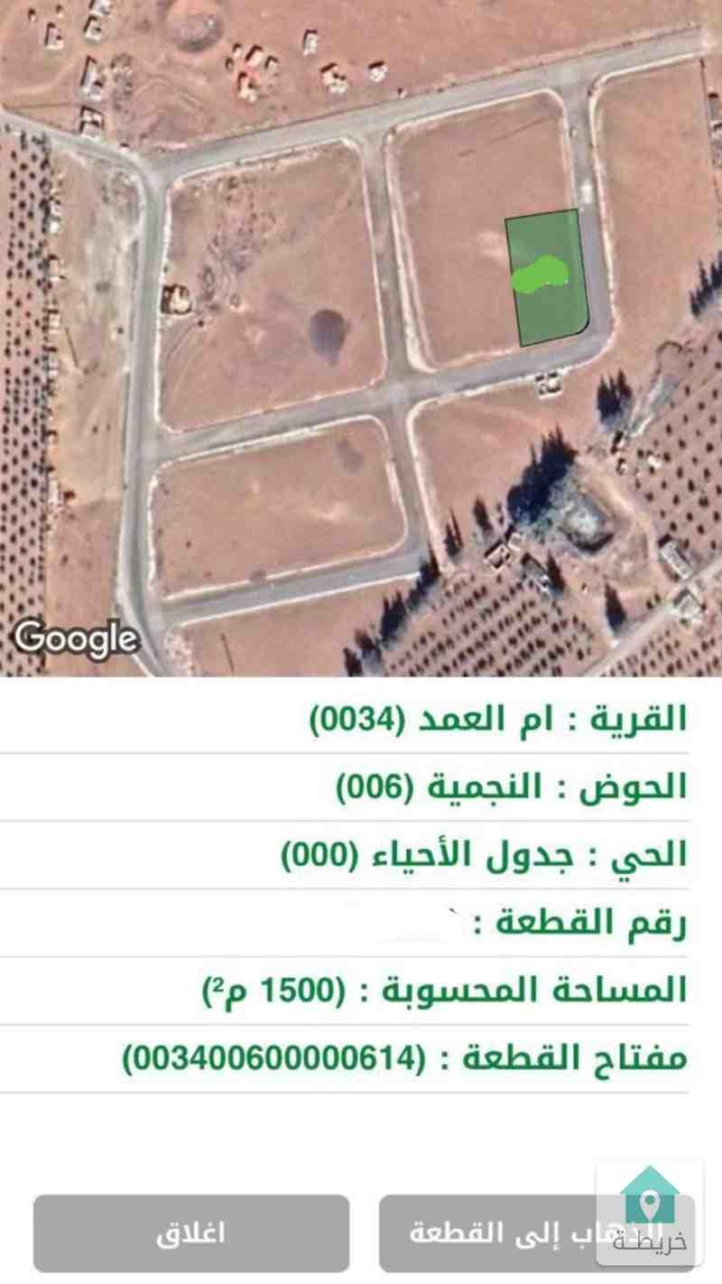 ام العمد ارض 1500م ع شارعين