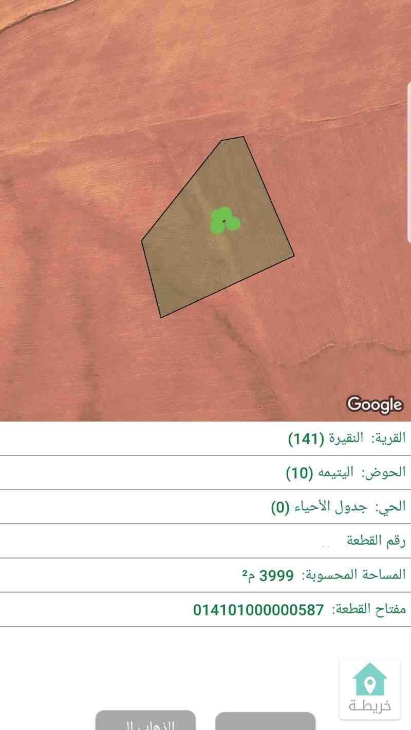 النقيره حوض اليتيمه ارض 4دنم